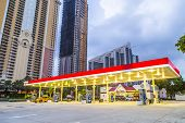 Early Morning Streetview In Sunny Isles Beach With Petrol Station