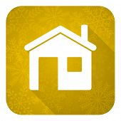 house flat icon, gold christmas button, home sign