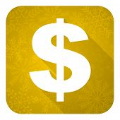 dollar flat icon, gold christmas button, us dollar sign
