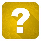 question mark flat icon, gold christmas button, ask sign