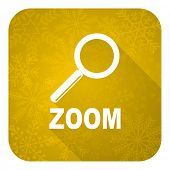 zoom flat icon, gold christmas button
