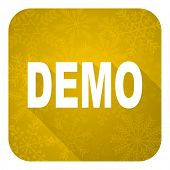 demo flat icon, gold christmas button