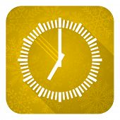 time flat icon, gold christmas button, clock sign