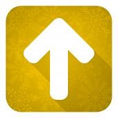 up arrow flat icon, gold christmas button, arrow sign