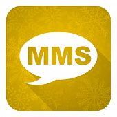mms flat icon, gold christmas button, message sign