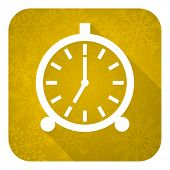 alarm flat icon, gold christmas button, alarm clock sign