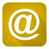 email flat icon, gold christmas button