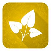 leaf flat icon, gold christmas button, nature sign