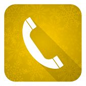 phone flat icon, gold christmas button, telephone sign
