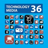 36 media, technology buttons, icons set, vector