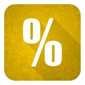 percent flat icon, gold christmas button
