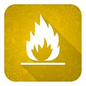 flame flat icon, gold christmas button