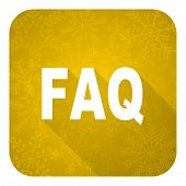 faq flat icon, gold christmas button