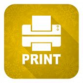 printer flat icon, gold christmas button, print sign