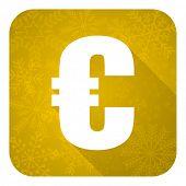 euro flat icon, gold christmas button