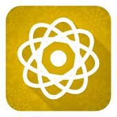 atom flat icon, gold christmas button