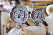 stock photo of pressure vessel  - Pressure gauge for measuring pressure in the system - JPG