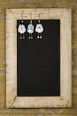 Merry Christmas New Years Chalkboard Blackboard Reclaimed Wood Frame Tin Owl Decoration