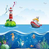 cartoon style of a ship at sea and fun fish