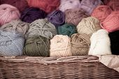 Colorful Different Wool Thread Balls In Wicker Basket