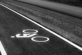 The Monochrome of bicycle road sign in Thailand.