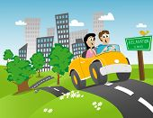 image of road trip  - Illustration of a couple getting away from the city for some relaxation - JPG