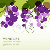 Branch Of Grape With Leaves. Abstract Vector Background Design Template With Place For Text. Concept