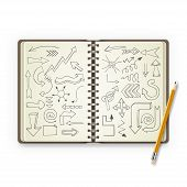 Pencil and open notebook with painted arrows