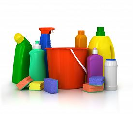 picture of detergent  - detergent bottles and chemical cleaning supplies isolated on white - JPG