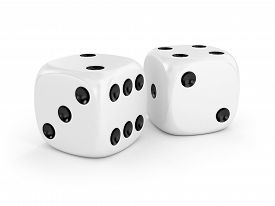 picture of gambler  - Two white dice isolated on white background - JPG