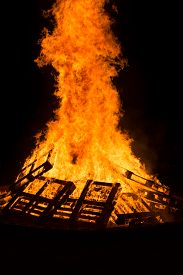 image of tetrahedron  - Images taken by a large warm bonfire made out of wood pallet at a fire festival in Chester County PA - JPG