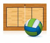 stock photo of volleyball  - An illustration of a blue and green volleyball isolated on a white floor with a volleyball court in the background - JPG