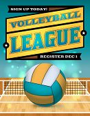 picture of volleyball  - An illustration for a volleyball league flyer or poster - JPG