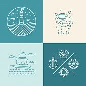 stock photo of fish icon  - Vector set of nautical icons and logo design elements in trendy linear style - JPG