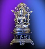 Silver Buddha On Throne From Tibet