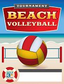 pic of volleyball  - A flyer or poster template for a beach volleyball tournament - JPG