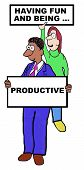 pic of productivity  - Cartoon of businesspeople holding signs that say  - JPG