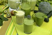 pic of smoothies  - Green smoothies made of fresh vegetables and fruits - JPG