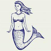 image of mermaid  - Illustration cute mermaid - JPG