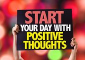 picture of positive thought  - Start Your Day with Positive Thoughts card with bokeh background - JPG