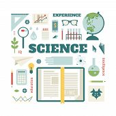 foto of science  - Set open book about science - JPG