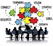 stock photo of partnership  - Teamwork Team Connection Strategy Partnership Support Puzzle Concept - JPG