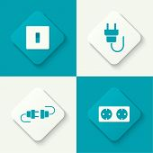 image of electric socket  - Set of vector icons with wire plug and socket - JPG