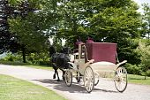 Traditional Horse Drawn Coach With Driver And Footman