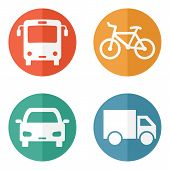 picture of motor-bus  - Vector illustration of simple surface transport related icons Set of four round buttons - JPG