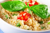 picture of cherry  - Couscous salad with cherry tomatos and basil - JPG