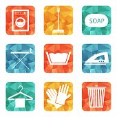 image of laundry  - Laundry And Cleaning Icons Set for web and mobile - JPG