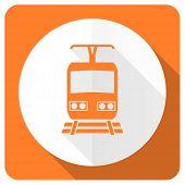 stock photo of railroad-sign  - train orange flat icon public transport sign  - JPG