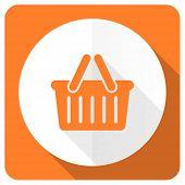 image of cart  - cart orange flat icon shopping cart symbol  - JPG