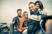 stock photo of pov  - Bikers taking selfie with camera  - JPG